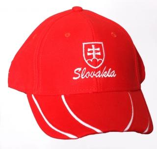 2ba34e714 šiltovka 97b červená - pásikavá - znak Slovakia, biela výšivka empty
